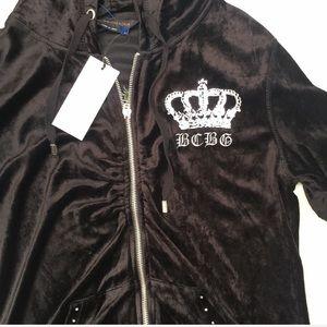 BCBGMaxAzria Sweaters - BCBGMaxariza Velvet logo Zip Up Jacket NWT
